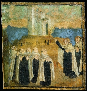 Painting of the early hermits on Mount Carmel