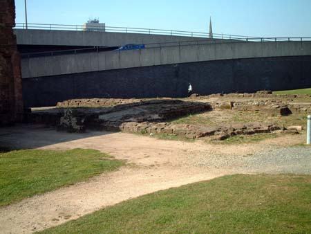 View of foundations of east end of church (friars' choir