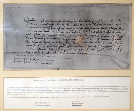 Copy of the surrender document, dated 17 Oct 1538 and signed by the community